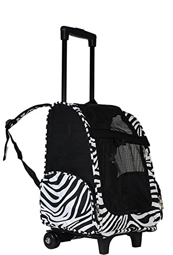 lcm portable small pet carrier backpack with wheels carry on mesh luggage black and white zebra. Black Bedroom Furniture Sets. Home Design Ideas