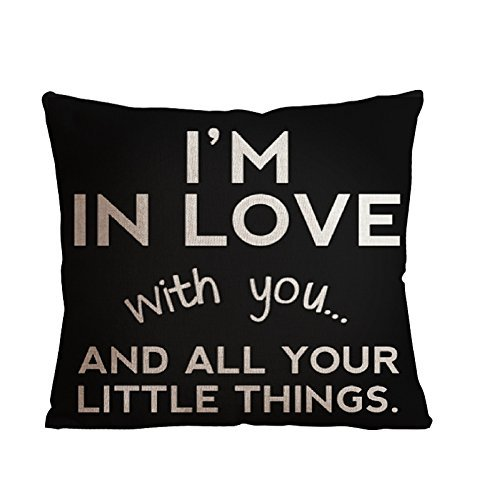 ilkin Decorative Inspirational Quotes Cotton Personalized pillow cases, I'm in love - 18 x 18