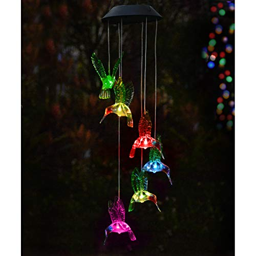 Abkshine Solar Hummingbird Wind Chimes Lights, Color Changing Hummingbird Ornament for Christmas Yard Garden Outdoor Umbrella Decor ()