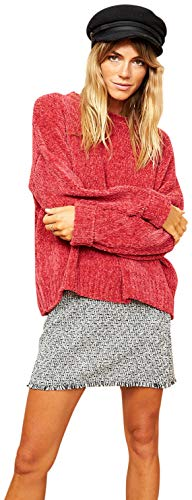 Acrylic Chenille Sweater - MINKPINK Women's Daydream Chenille Sweater, Rasberry (XS)