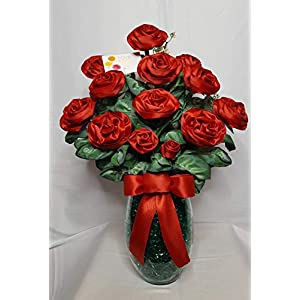 Handmade Red Satin Ribbon Rose Bouquet of 16 Long Stemmed Roses in a Glass Vase 86