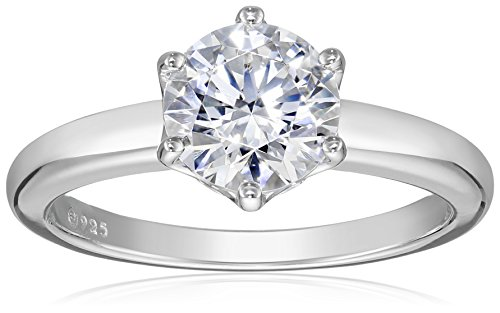 Platinum-Plated Sterling Silver Solitaire Ring set with Round Swarovski Zirconia (2 cttw), Size 9