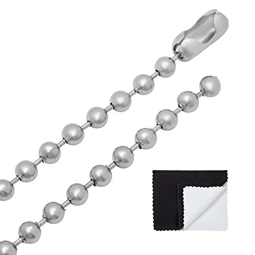 Silver Bead Brushed - The Bling Factory Durable Stainless Steel 6mm Military Style Bead Chain Necklace, 20