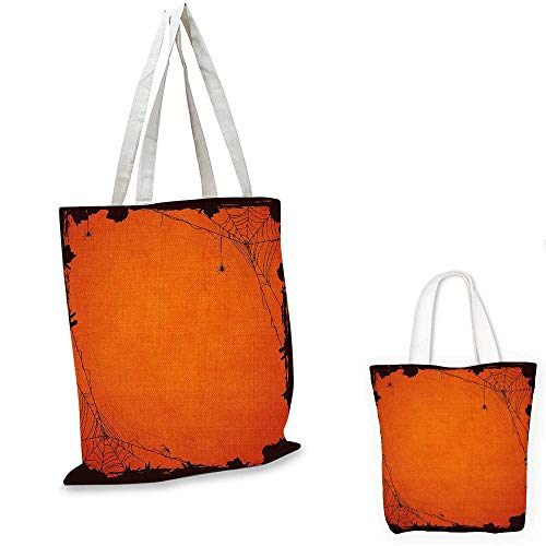 Spider Web canvas laptop bag Grunge Halloween Composition Scary Framework with Insects Abstract Cobweb fruit shopping bag Orange Brown. 12