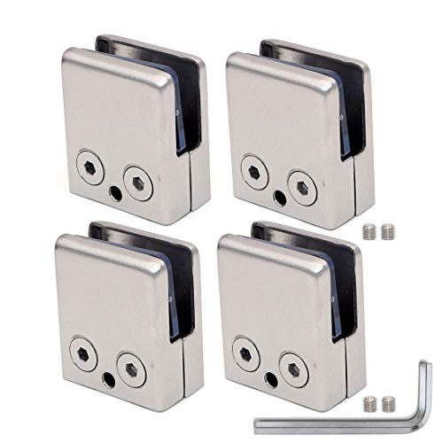 Set of 4 NUZAMAS Glass Clamps Suitable for 8-10mm Glass Panel, Stainless Steel 304 Made Satin Finish, Square Front, Flat Back, Adjustable Glass Bracket Flat Back for Balustrade Staircase, Pool Fence