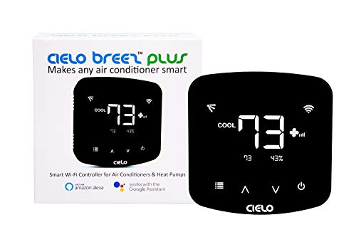 Cielo Breez Plus, Smart Air Conditioner Remote Controller | WiFi Enabled, Compatible with Alexa & Google Home, iOS, Android & Web enabled | Power up like a thermostat OR with 5V adapter (included)