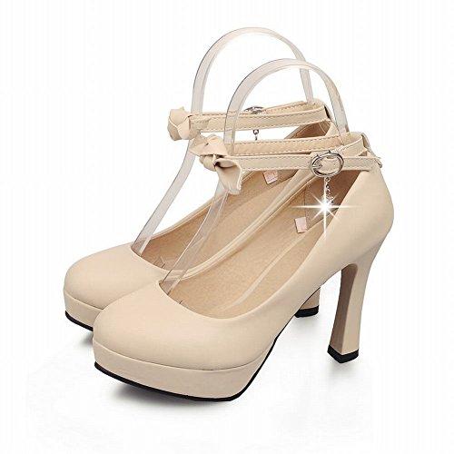 Carolbar Chic Mujeres Sweet Bow Hebilla Colgante Rhinestone Elegance Correa De Tobillo Plataforma Bombas Mary Janes Zapatos Beige