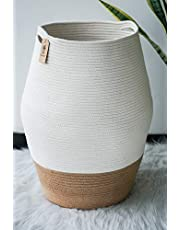 Goodpick Large Laundry Hamper | Tall Wicker Hamper Laundry Basket, Soft Cotton Rope Woven Hamper, Farmhouse Design Gracery Curver Basket 25.6 Inches Height