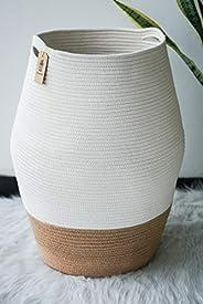 Goodpick Large Laundry Hamper   Tall Wicker Hamper Laundry Basket, Soft Cotton Rope Woven Hamper, Farmhouse De