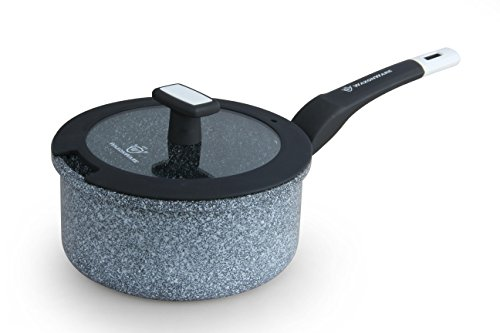 WaxonWare Sauce Pan With Stonetec (A 100% PTFE, PFOA and APEO Free) Ceramic Non-Stick Coating With Glass Lid (1.7 Quart)