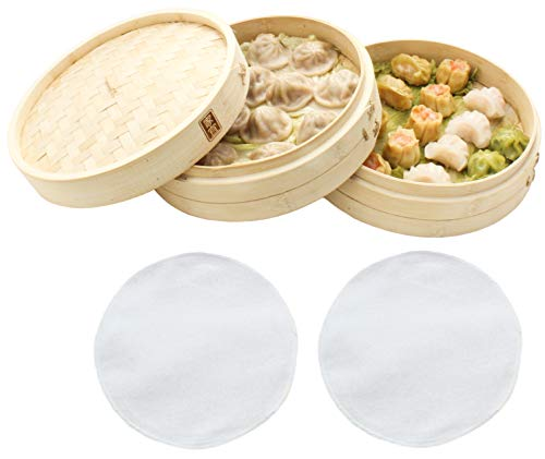 Dim Sum Bamboo Steamers - Zoie + Chloe 100% Natural Bamboo Steamer Basket - with Bonus Reusable Cotton Liners