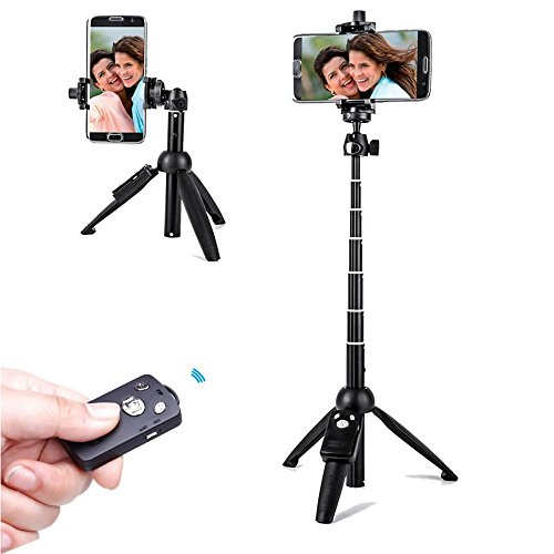Yunteng YT-9928 Tripod Selfie Stick Portable Bluetooth Handheld Lightweight Selfie Pole Destk Top Tripod 3-in-1 with Remote Shutter and Phone Holder for Smartphone iPhone 8 7 Samsung Huawei LG GoPro