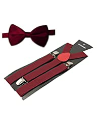 "TopTie Mens 1"" Inch Elastic Adjustable Y-Back Suspenders & Pre-Tied Bow Tie Set-Burgundy"