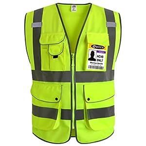 JKSafety Nueve bolsillos Nivel 2 Uniforme trabajo Chaleco con cremallera-Chaleco reflectante fluorescente-Chaleco de segurida (3X-Large) 3