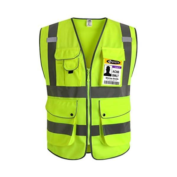 JKSafety Nueve bolsillos Nivel 2 Uniforme trabajo Chaleco con cremallera-Chaleco reflectante fluorescente-Chaleco de… 2