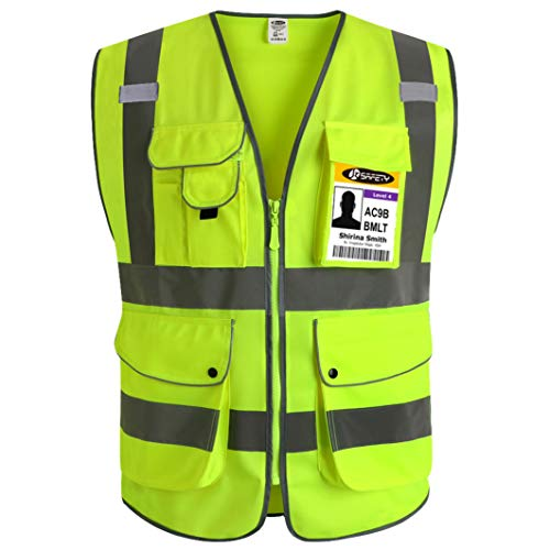 JKSafety 9 Pockets Class 2 High Visibility Zipper Front Safety Vest With Reflective Strips, Yellow Meets ANSI/ISEA Standards (3X-Large) (Type 2 Vest)