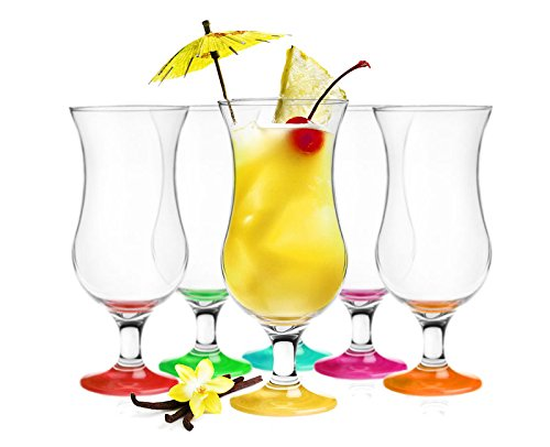 6 Cocktailgläser Mix 440ml Hurricane Cocktailglas Longdrinkgläser Eisgläser