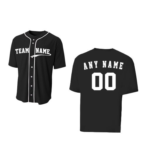 A4 Sportswear Black Youth Medium (CUSTOM Front and/or Back) Full-Button Baseball Wicking Jersey by A4 Sportswear