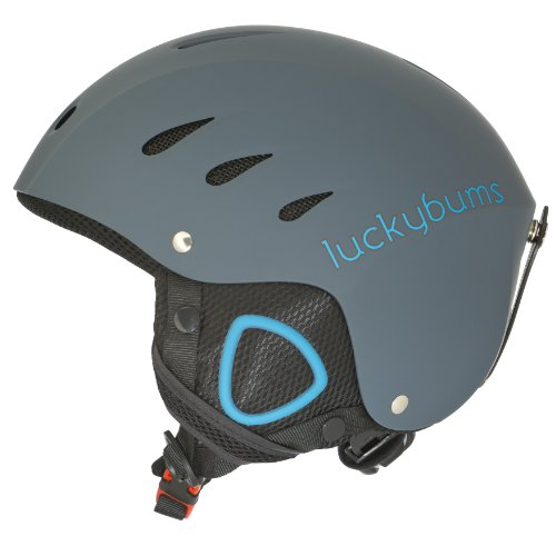 Lucky Bums Snow Sport Helmet for Skiing and Snowboarding (Matte Steel and Blue, Medium)
