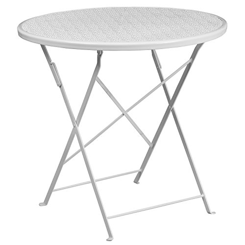 (Flash Furniture CO-4-WH-GG Metal 30RD White Folding Patio Table,)