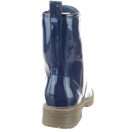Sopily - Chaussure Mode Bottine Rangers Mi-Mollet femmes flashy Talon bloc 3.5 CM - Intérieur textile - Bleu