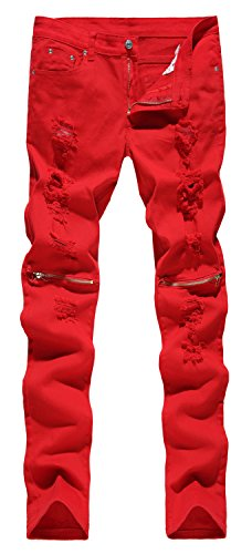 NITAGUT Men's Skinny Ripped Destroyed Slim Straight Fit Zipper Jeans With Holes,Red,US 32/Tag 34 (Red Skinny Jeans For Men compare prices)