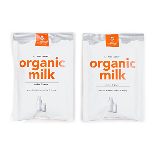 SACO Conscious Kitchen Fat-Free Instant Certified Organic Milk, for Drinking, Cooking, and Baking, Makes 1 Quart, 2 Pack