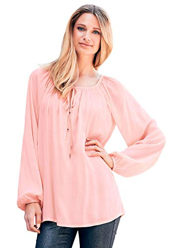 Ellos Women's Plus Size Tie Neck Peasant Tunic - Pale Blush, -