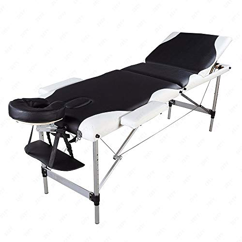 SPDTAILS 3 Sections Professional Foldable Portable Lightweight Aluminum Tube SPA Bodybuilding Massage Table Facial Salon Spa Tattoo Bed Black with White Edge