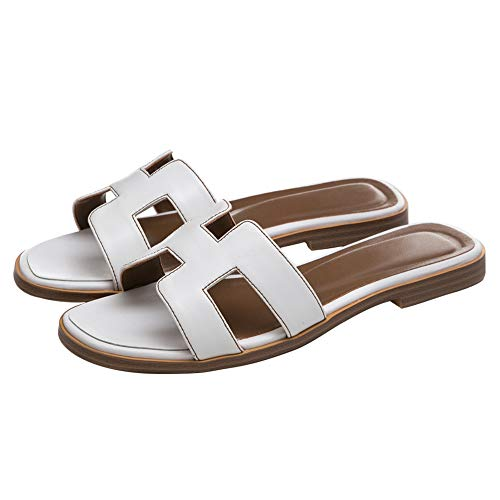 June in Love Women's Flat Casual Fashion Summer Sandals Slippers outsdoor Open Toe H Shape Slippers Matte White 8.5 US