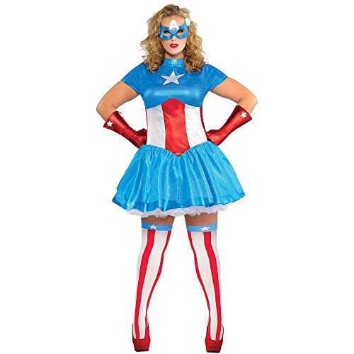 (Costumes USA American Dream Costume for Adults, Plus Size, Includes a Dress, a Mask, Gloves, and Thigh-High)