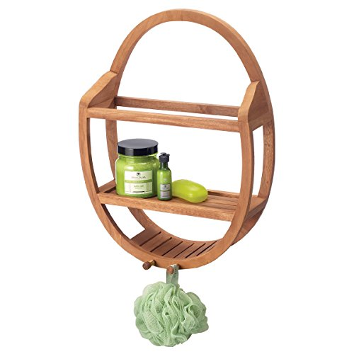 (Natural Teak Oval Shower and Bathroom Organizer Caddie That Holds Back Scrubber Washcloths and Other Shower Accessories )