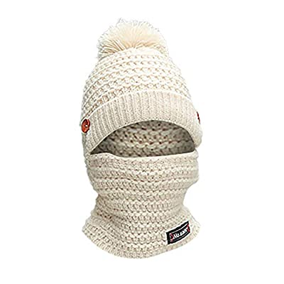 Adult Women Men Winter Earmuffs Knit Hat Scarf Hairball Warm Cap