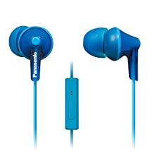 PANASONIC ErgoFit Earbud Headphones with Microphone and Call Controller Compatible with iPhone, Android and Blackberry - RP-TCM125-A - In-Ear (Blue)