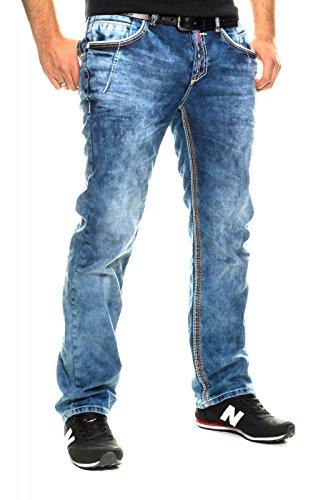 8323-26 Herren Jeans Hose Clubwear Denim Used Vintage Verwaschen Kosmo Look Fit Blau