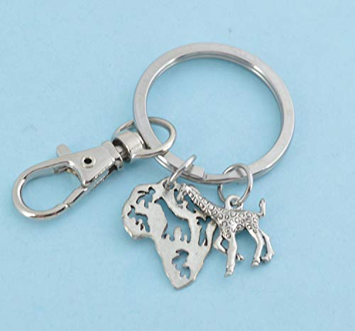 Pewter Shaped Charms - Africa keychain in silver pewter with Africa shaped pewter charm and pewter giraffe. African key chain. African jewelry.