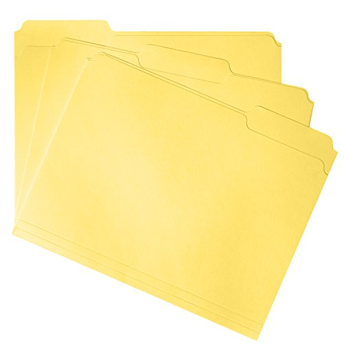 File Folder, 1/3 Cut Tab, Letter Size, Yellow, Great for organizing and easily file storage, 100 Per Box (File Folder Letter 1/3 Tab)