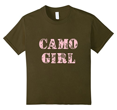 unisex-child CAMO GIRL Pink Camouflage T-Shirt 12 Olive