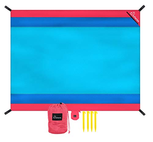 (WolfWise 7'x9' Beach Blanket, Sand Escape Extra Large Beach Mat Water Resistant Picnic Blanket, Made with Soft 70D Ripstop Nylon Machine Washable with 4 Stakes,)