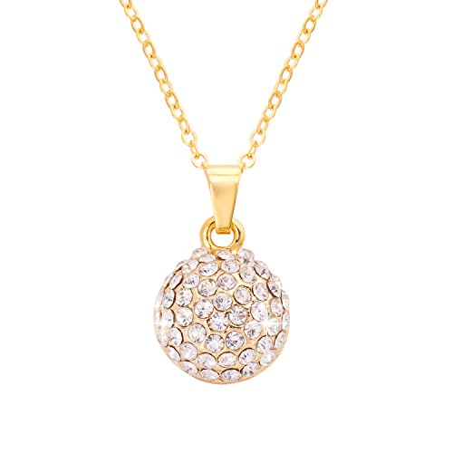 Jane Stone Fashion Gold Bridal Pendant Necklace Charms Ball Shaped with Bling Rhinestone for Women (Gold Ball Pendant)
