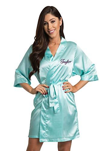 (Zynotti Women's Personalized Embroidered Satin Robe Aqua Satin Robe 1X/2X 22-26)