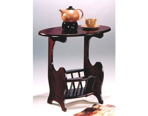 (Asia Direct Cherry Finish Wood Oval Side Table with Magazine Rack by HPP)