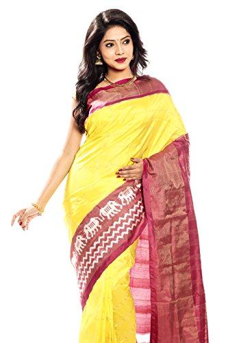 Mandakini — Indian Women's Pochampally - Handloom - Ikat Pure Silk Saree (Yellow ) (MK315) by Mandakini (Image #1)