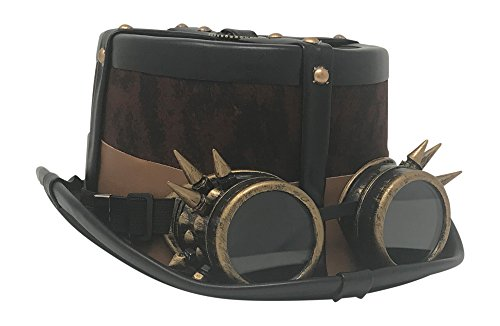 Kopper Tops Steampunk Costume Vintage Copper Spiked Goggles   Trim Top Hat Victorian Gothic Accessories