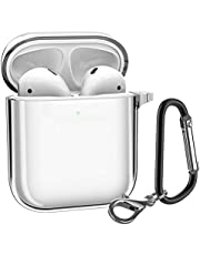 ATUMTEK AirPods Case, Crystal Clear Protective AirPods TPU Cover Compatible with Apple AirPods 1/2 Wireless Charging Case with Carabiner/Keychain [Front LED Visible] [Shockproof] - Transparent