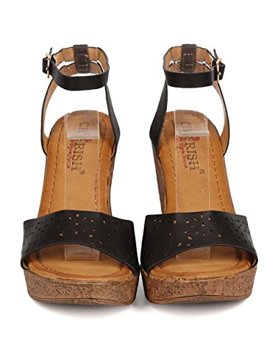 Cherish FK03 Women Leatherette Open Toe Perforated Wooden Platform Wedge Sandal - Black 07AG7NeFO