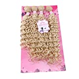 FRELYN Deep Wave Hair Bundles Blonde Curly Synthetic Hair Weave Extensions Color 613# 4 Pieces/pack (16' 18' 18' 20') Texture Soft As Human Hair