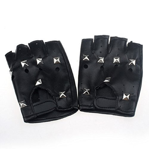Doinshop Square Nail Half-finger Leather Gloves Theatrical P