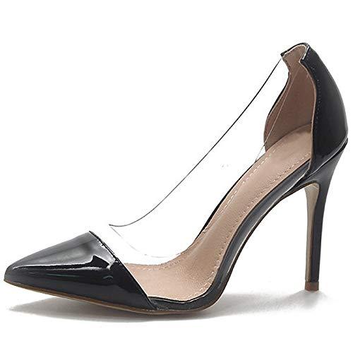 ZHZNVX Zapatos de Mujer PU (Poliuretano) Tacones de Bomba básicos de Verano Tacón de Aguja Punta Estrecha Blanco/Negro / Caqui Black