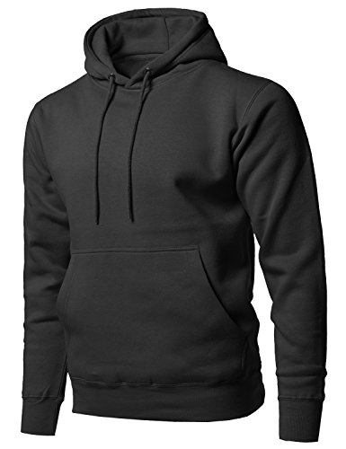 Style by William Causal Solid Soft French Terry Long Sleeve Pullover Hoodie Black 2XL